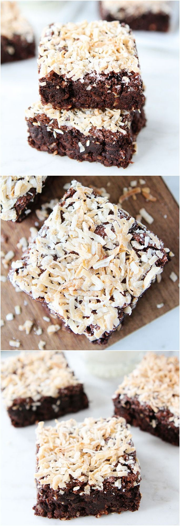 Coconut Brownies Recipe on twopeasandtheirpod.com. Fudgy brownies made with coconut oil and topped with coconut! #brownies