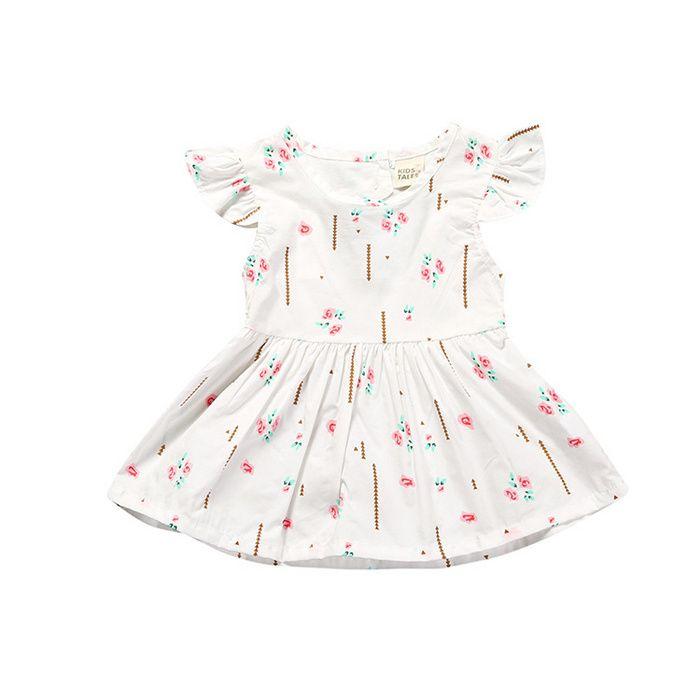 a69e03aa9ea8 Children Flower Printing Flying Sleeve Heart-Shaped Hollow Dress ...