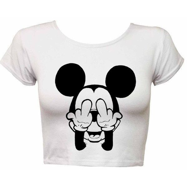 Mickey Mouse shirt Funny Mickey crop top t shirt crop top shirt tank t... (£12) ❤ liked on Polyvore featuring tops, t-shirts, shirts, crop tops, graphic tees, white shirt, white tee, women tops and summer shirts