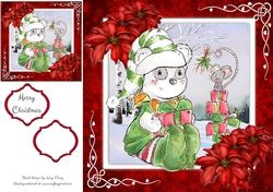 Gorgeous Festive Panda With Mouse 8x8 on Craftsuprint - View Now!