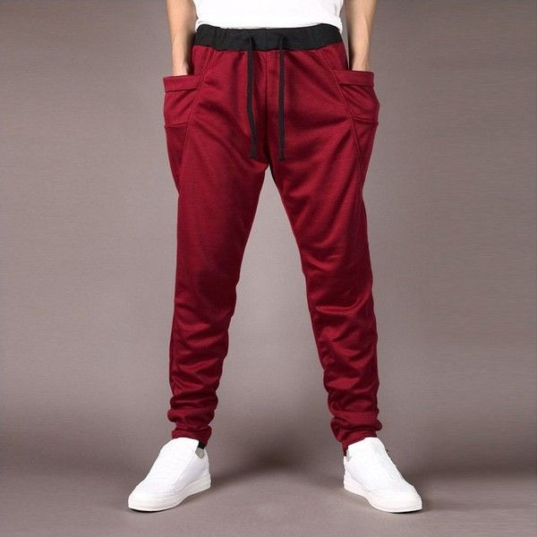 Men Harem Pants Casual Tapered Sweatpants Gym Trousers Joggers ($14) ❤ liked on Polyvore featuring men's fashion, men's clothing, men's activewear, men's activewear pants, mens activewear, mens jogger sweatpants, mens gym pants, mens tapered sweatpants and mens sweat pants