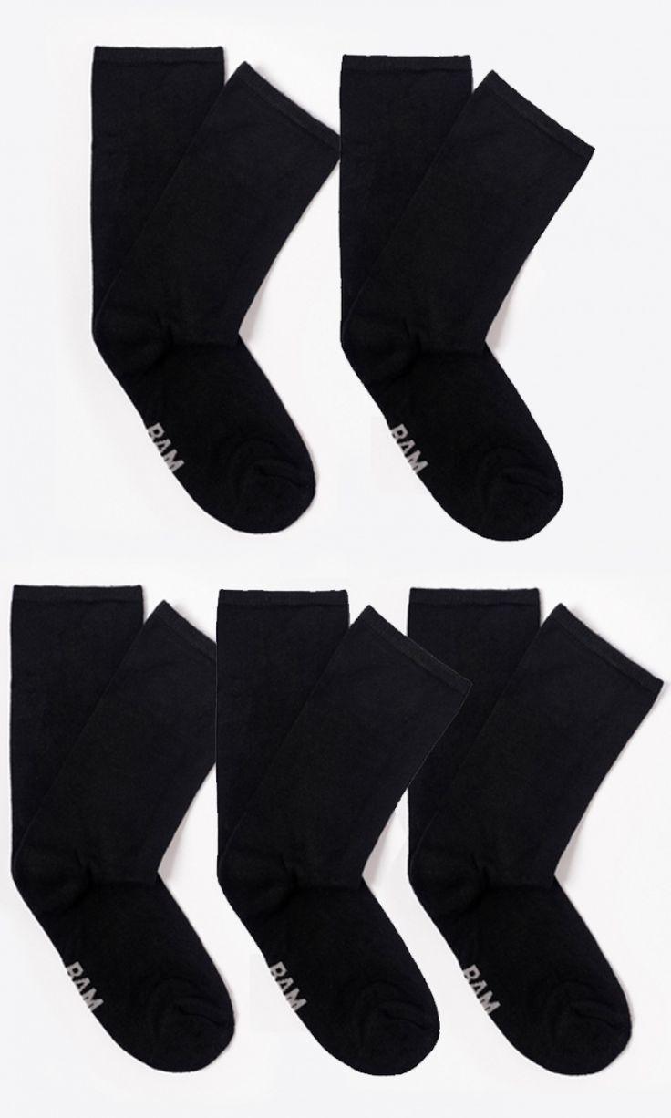 Bamboo Socks - Amazing Classics - *Black 5 Pairs* : Bamboo Clothing