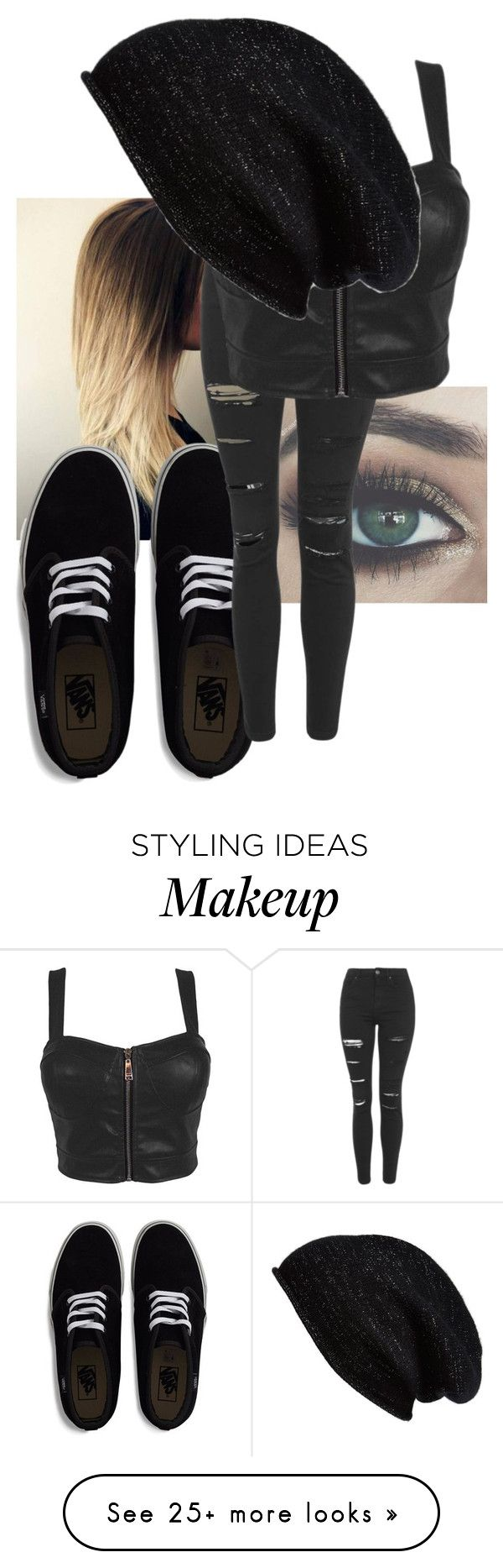 """Black like my soul"" by looking-fly on Polyvore featuring Vans, Topshop and Halogen"