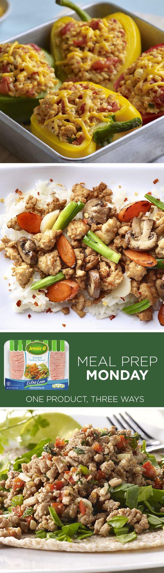 Prep meals in a breeze! Same ground turkey, 3 amazing recipes.   Meal Prep   Ground Turkey   Easy Ground Turkey Recipes