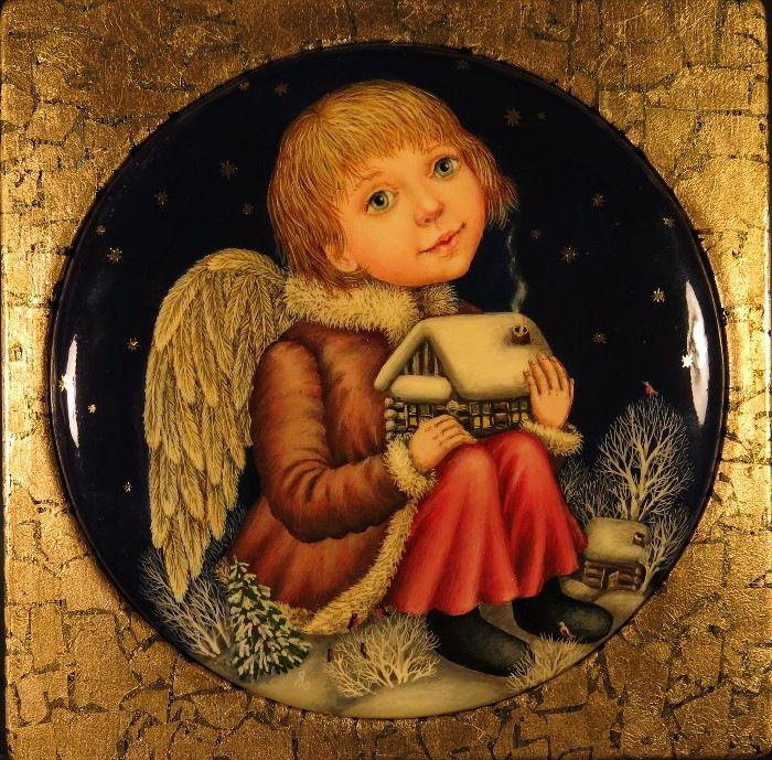 Gallery.ru / Ангел, оберегающий дом 2 - Дерево,темпера,лак - julia-yakusheva