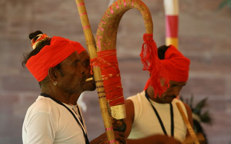 Indian men with their performance instruments