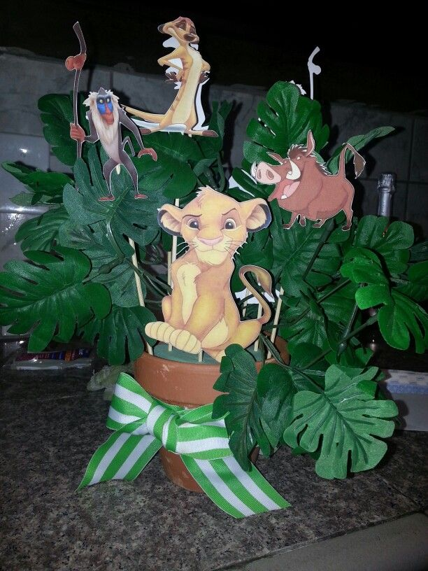 Lion king baby shower center piece my creations for Dekoration fur babyparty