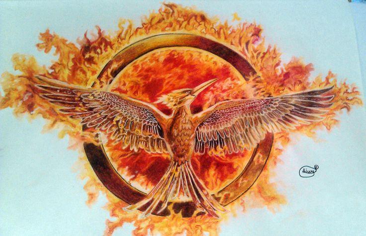Mockingjay drawing: Hunger games drawn with aquarel