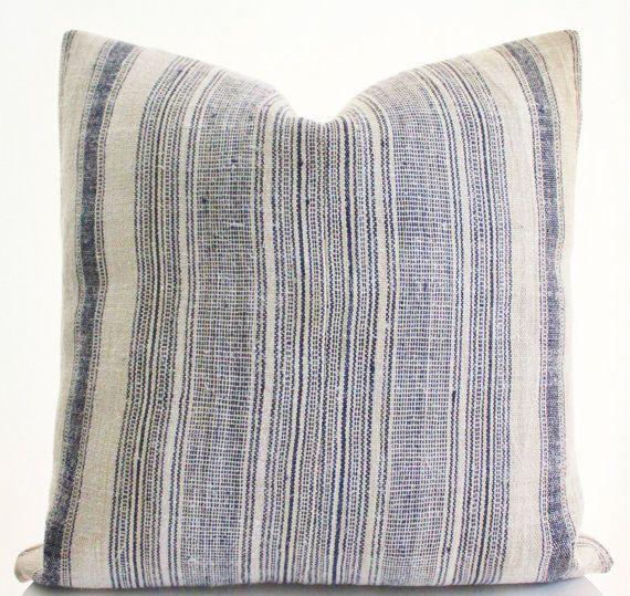 Vintage Hmong Textile Pillow Cover Ethnic Hand Woven Hemp Indigo Striped