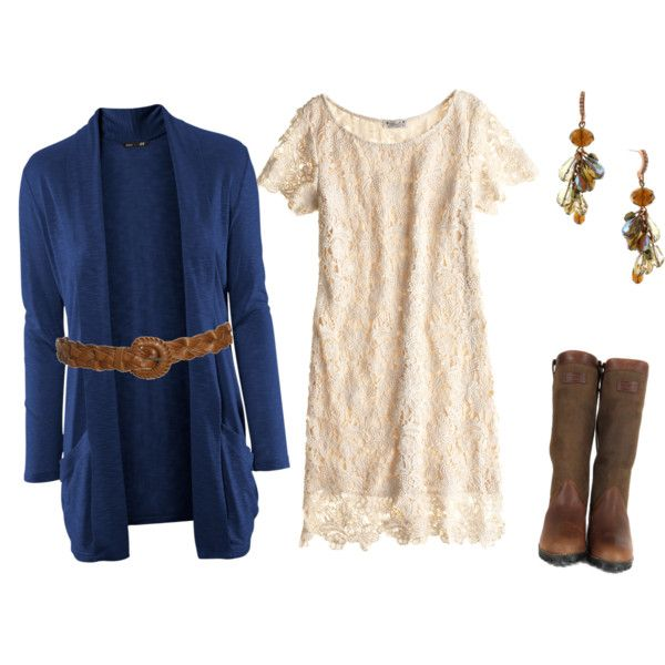 OutfitWomen Fashion, Blue Dresses With Cowboy Boots, Lace Dresses With Cowboy Boots, Colleges Outfit, Brown Boots, The Dresses, Lace Boots Outfit, Navy Cardigans, Sweaters Dresses Cowboy Boots