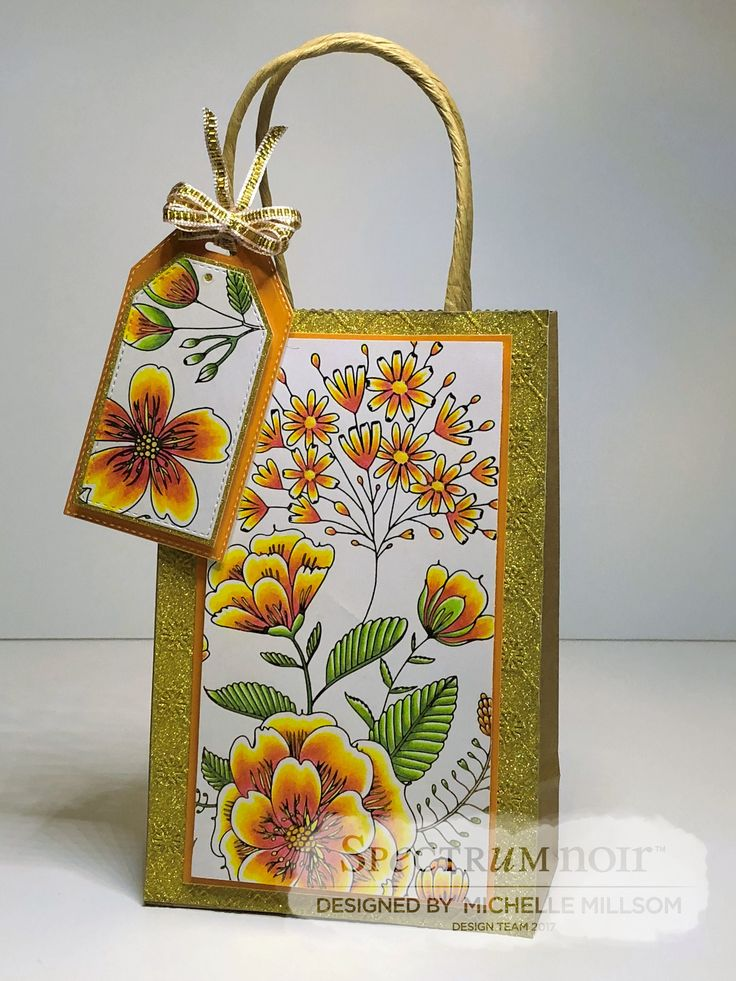 Gift Bag with Gift Tag. Designed by Michelle Millsom. Colourista A4 Foiled Pad - Natural Beauty. Colourista Pencils - All Packs.