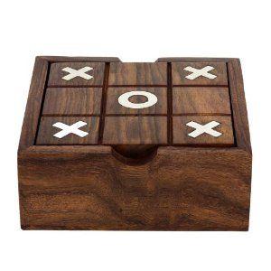 Solitario y tic tac toe dos en un juego ambientado juguetes de madera de la India: Amazon.es: Juguetes