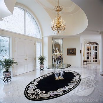 Entry Halls Marble Floor Double Door Chandelier White