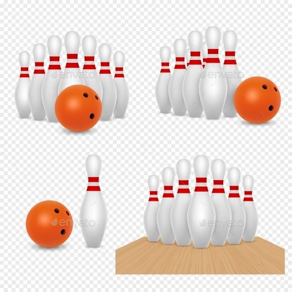 Bowling Ball and Skittles Vector Realistic