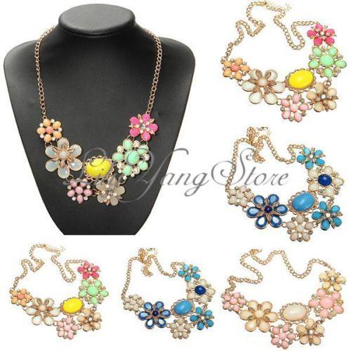 Moda-Collar-Gargantilla-Bohemia-Babero-Cadena-Flor-Statement-Colgante-Necklace