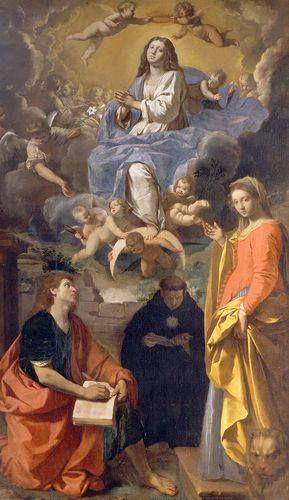 Simone Cantarini dipinse questa Madonna in gloria con tre santi che si trova alla Pinacoteca Nazionale di Bologna