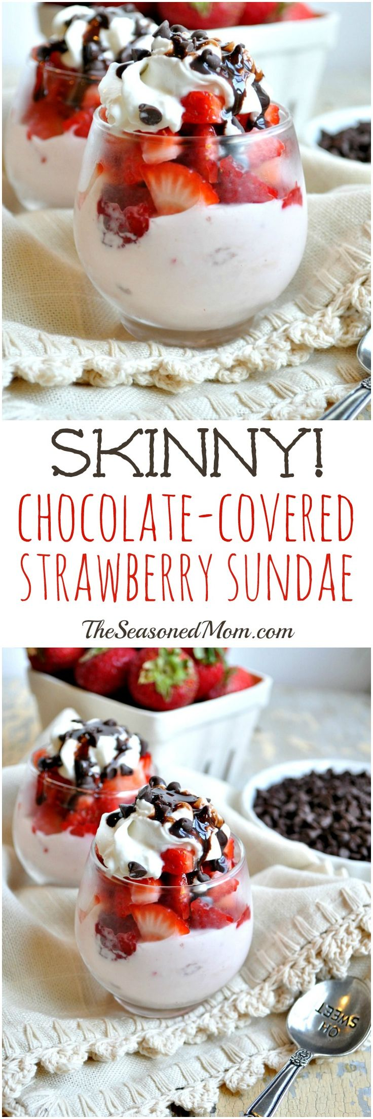 This SKINNY CHOCOLATE-COVERED STRAWBERRY SUNDAE is a 2-minute healthy snack or dessert that's high protein, low calorie, and actually good for you! #ad
