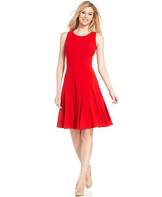 Calvin Klein Dress, Sleeveless Pleated A-Line...comes in a purple, a blue, black and red.. I think I like the blue or purple