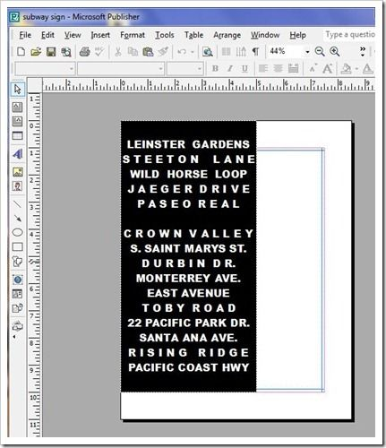 how to make a subway sign using publisher, canvas, mod podge