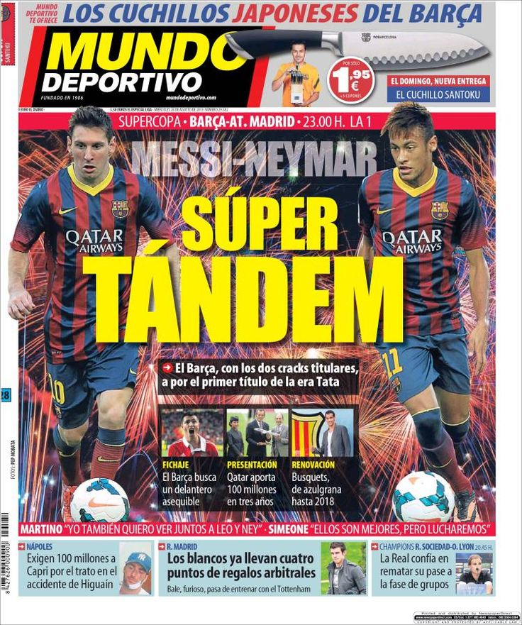 Los Titulares y Portadas de Noticias Destacadas Españolas del 28 de Agosto de 2013 del Diario Mundo Deportivo ¿Que le pareció esta Portada de este Diario Español?