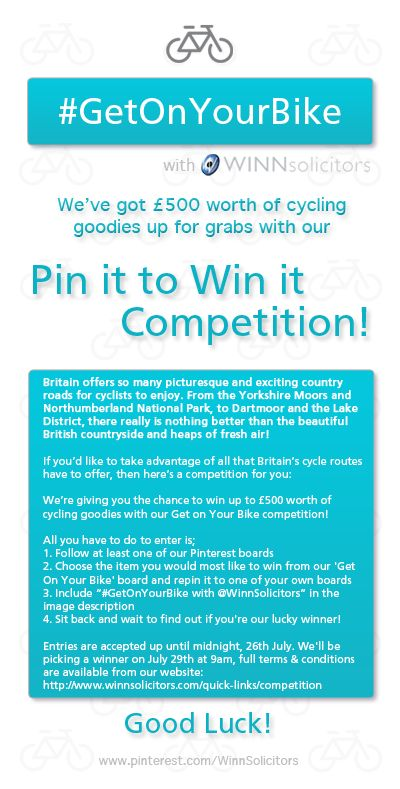 If you'd like to take advantage of all that Britain's cycle routes have to offer, then here's a competition for you:  We're giving you the chance to win up to £500 worth of cycling goodies with our Get on Your Bike competition! #GetOnYourBike with @Erin Kim Solicitors