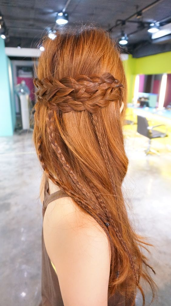 Ginger. Longhair with braids. Hairdo for long hair.