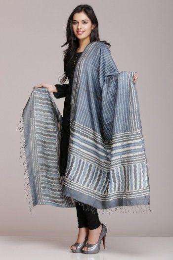 Grey Hand Block Printed Tussar Silk Dupatta