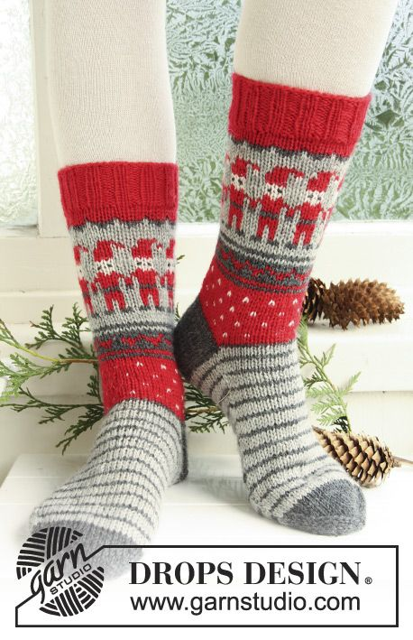 "Dancing Elves / DROPS Extra 0-722 - Kuviolliset DROPS sukat jouluksi ""Karisma""-langasta. Koot 32-43."