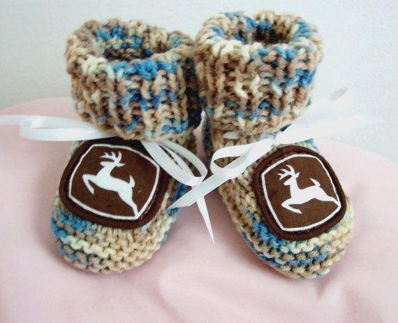 Custom handmade Knit John Deere Authentic Mirage Camo Camouflage Logo Baby booties crib shoes 0-12M on Etsy, $29.99