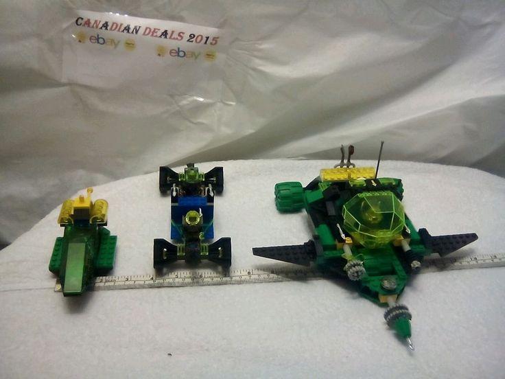 Lego lot 4 mini figs 3 vehicles neon aqua space Transporter rover silver spears #LEGO
