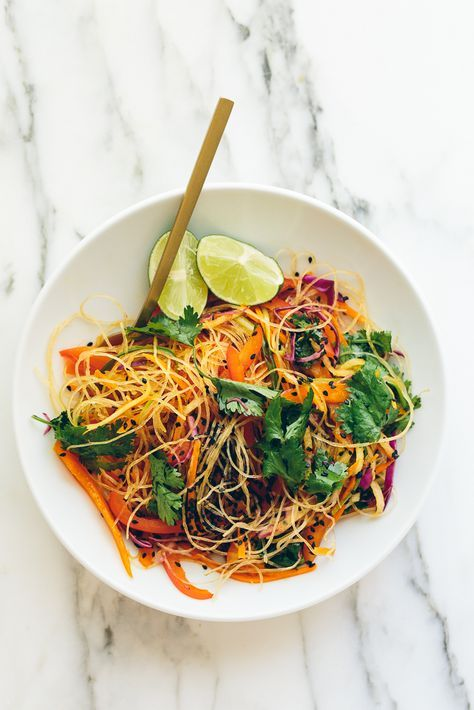 Rainbow Glass Noodle Crunch Salad with Chile-Lime Vinaigrette | Blissful Basil