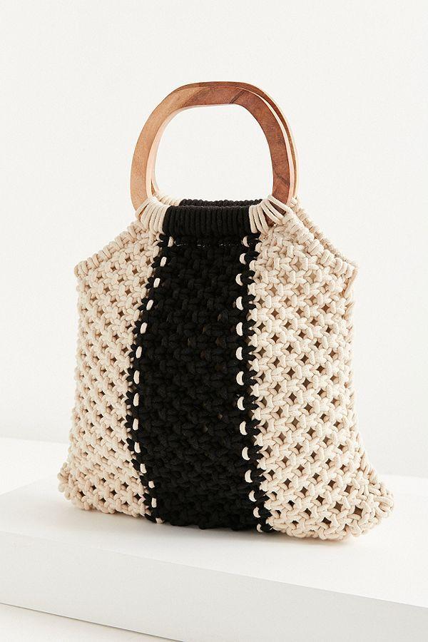 Wood Handle Stripe Macrame Tote Bag Macrame Bag Crochet Bag Minimalist Bag