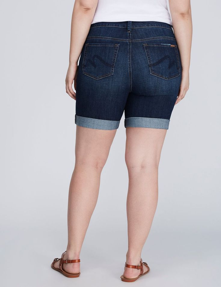 Roll-Cuff Denim Bermuda Short by Melissa McCarthy Seven7