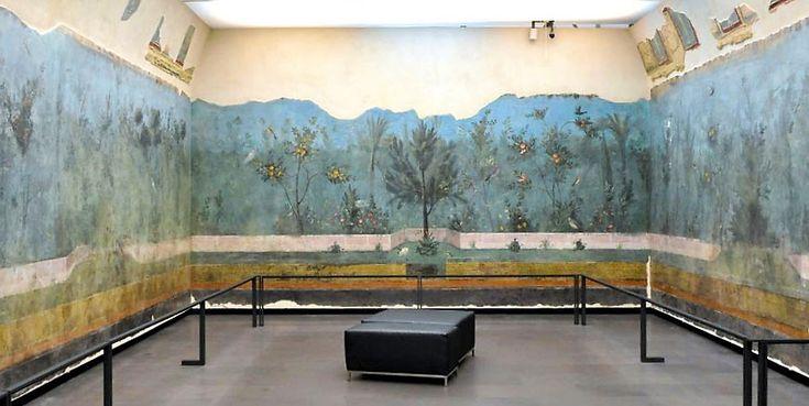MALOWIDŁA W VILLA LIVIA 0 PRIMA PORTA  Villa di Livia zbudowana została w końcu I w. BC w rzymskiej dzielnicy Prima Porta dla Livii, żony cesarza Augusta. Rezydencja zasłynęłą z powodu odnalezienia w niej marmurowego posągu cesarza Augusta i fresków zaliczanych do tzw. drugiego stylu pompejańskiego.