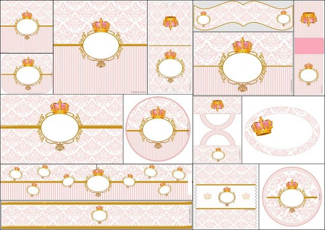Golden Crown in Pink: Free Printable Candy Bar Labels.