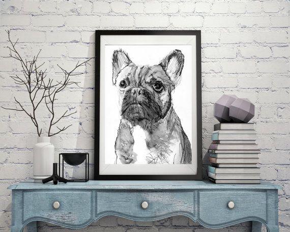 French Bulldog Painting art Print from Original by OjsDogPaintings #frenchbulldog #frenchie #art