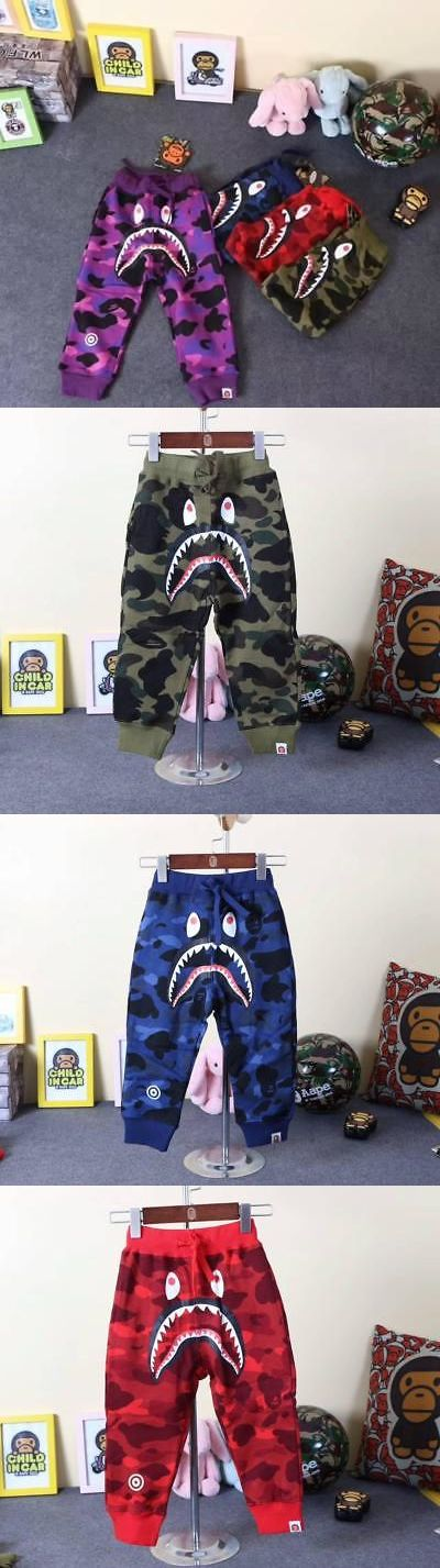 Pants 175654: 2017 New Kid S Baby Bape A Bathing Ape Camo Adjustable Shorts Shark Jaws Pants -> BUY IT NOW ONLY: $36.09 on eBay!