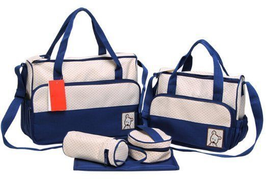 Diaper Tote Bags Set 5 Piece Infant Baby Handbags Collection Nylon Beige/Blue #Unbranded