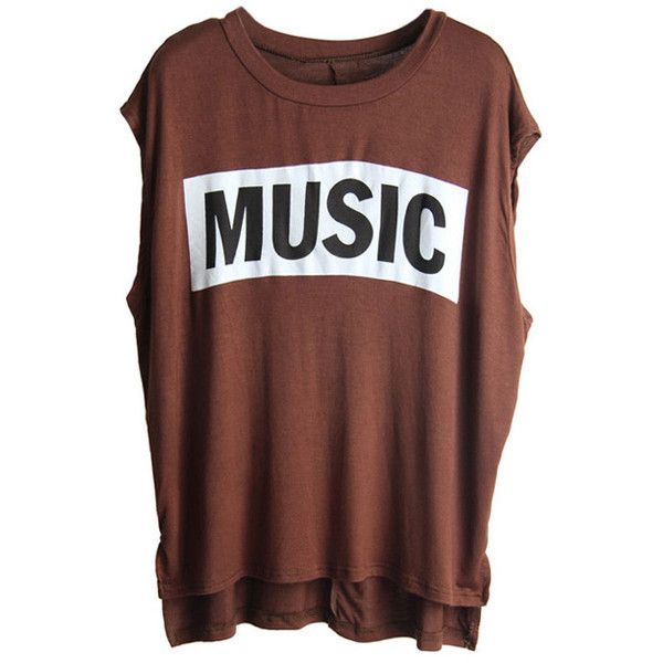 """Asymmetric """"Music"""" Brown T-shirt (230 ARS) ❤ liked on Polyvore featuring tops, t-shirts, shirts, tees, asymmetrical tee, brown tee, brown t shirt, brown shirt and t shirts"""