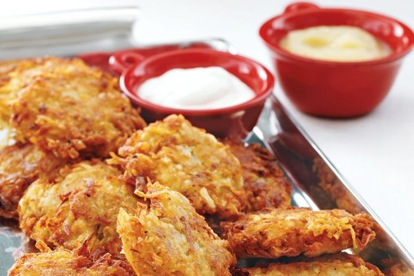 Classic Potato Latkes Crispy, lacy potato latkes are a staple at many holiday tables. Depending on your tradition, use matzo meal or all-purpose flour, and kosher salt or table salt. By Rheanna Kish and The Test Kitchen Source: Canadian Living Magazine: December 2012