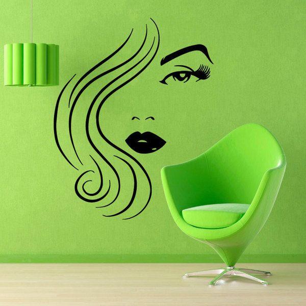 Girl Face Beauty Salon Sticker Vinyl Wall Art