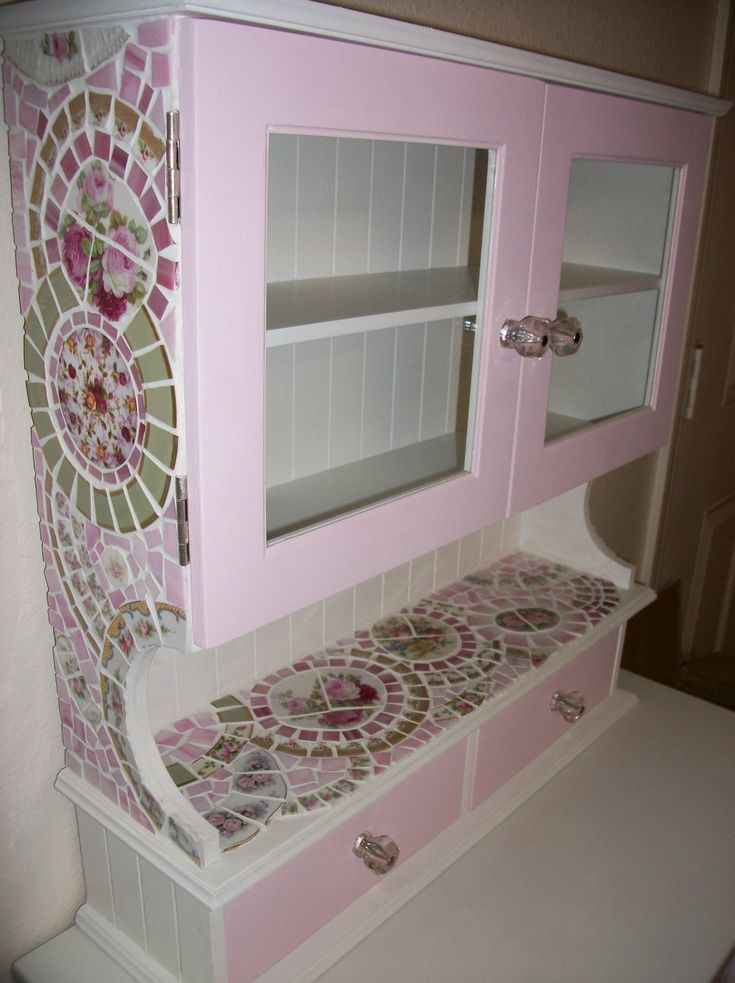 """Generally I don't like things that are """"fussy"""", frilly, or girly pink in the extreme…but this shabby chic kitchen cabinet (or any room cabinet!) just may be the exception! :)"""