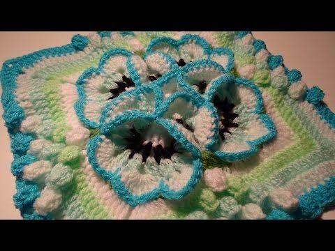 muestra para colcha tejido a crochet pensamiento pequeño, video 1 - YouTube