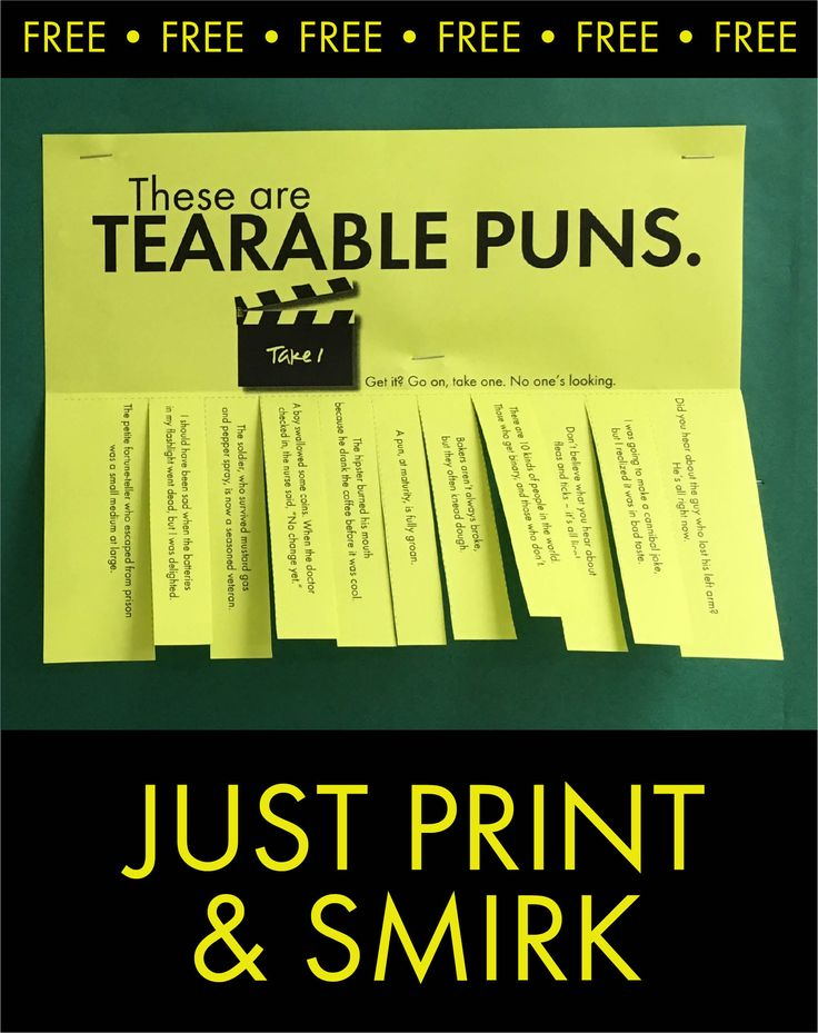 Tearable puns for bulletin boards and classroom decor. #highschool #middleschool #punny #pun #free