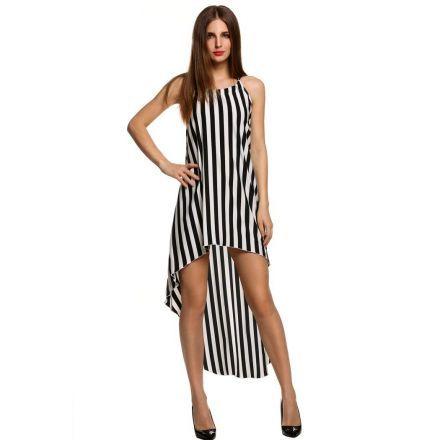 Vestido Negro blanco atractivo de las mujeres sin mangas de empalme de rayas asimétricas Partido sin respaldo Hem