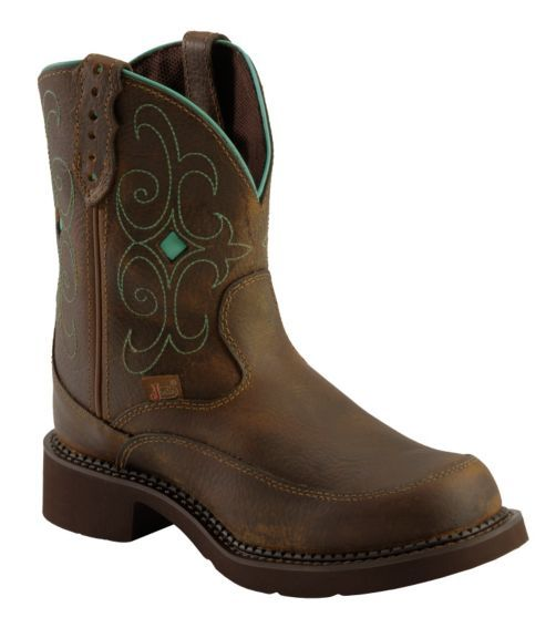 Justin Gypsy Teal Stitched Cowgirl Boots - Round Toe - Sheplers
