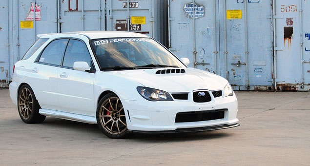 2002 WRX wagon with 06/07 front end swap and full sedan fender conversion