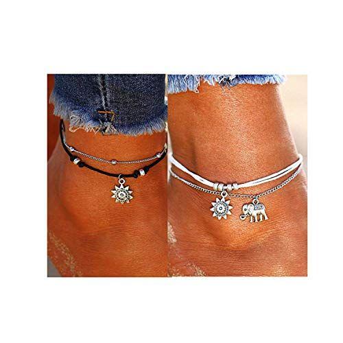 Dolovely 2PCS Boho Beach Layered Rope Anklet Bracelet ...