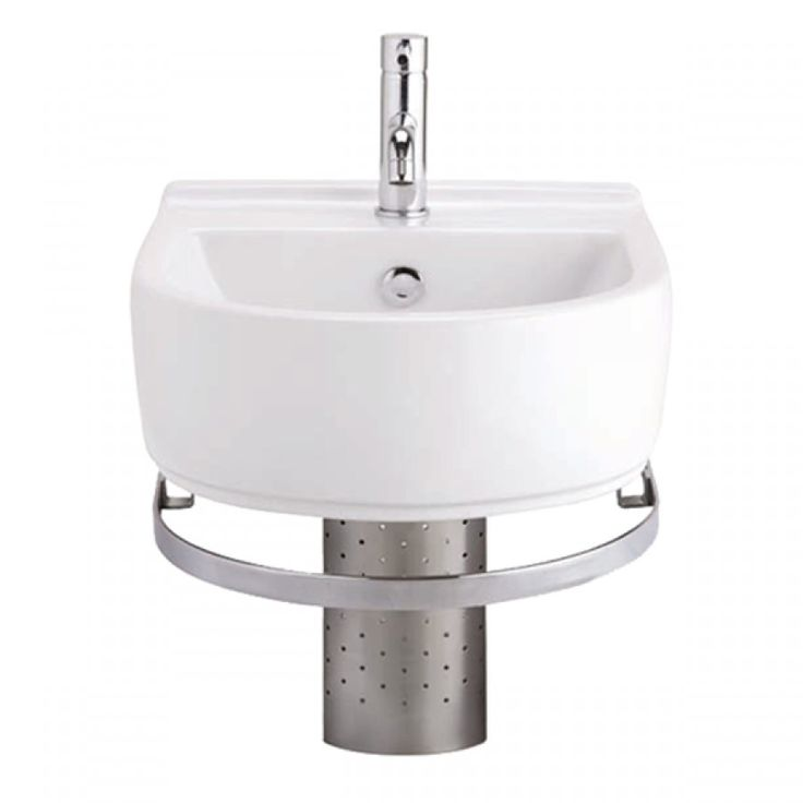 cotto beta white wall hung basin and rail with tap hole 435x500mm