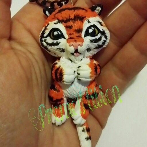 Portachiavi Baby Tiger - Fimo Poly Clay